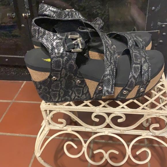 Volatile black/silver platform sandals, cork wedge